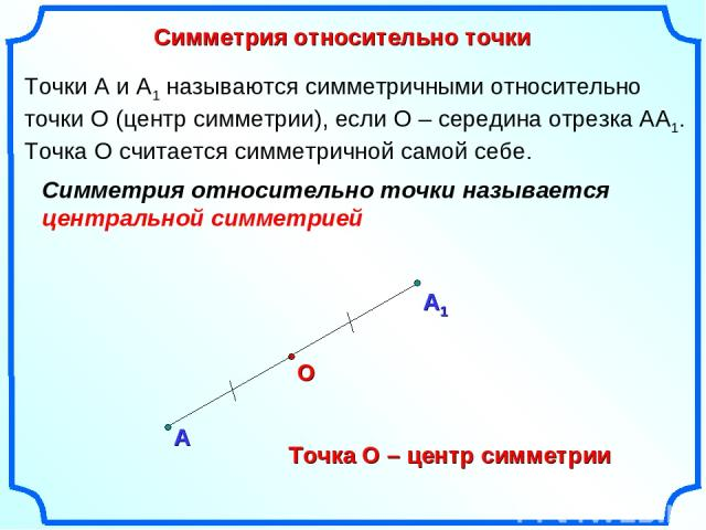 Симметрия относительно точки А О Точки А и А1 называются симметричными относительно точки О (центр симметрии), если О – середина отрезка АА1. Точка О считается симметричной самой себе. Точка О – центр симметрии Симметрия относительно точки называетс…