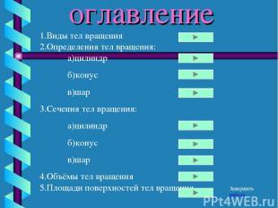 оглавление 1.Виды тел вращения 2.Определения тел вращения: а)цилиндр б)конус в)ш