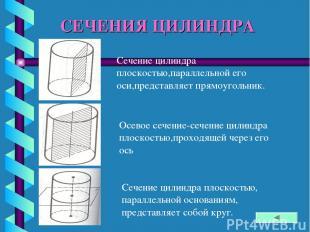 СЕЧЕНИЯ ЦИЛИНДРА Сечение цилиндра плоскостью,параллельной его оси,представляет п