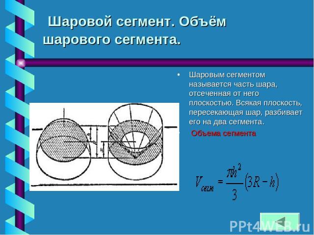 Шаровой сегмент. Объём шарового сегмента. Шаровым сегментом называется часть шара, отсеченная от него плоскостью. Всякая плоскость, пересекающая шар, разбивает его на два сегмента. Объема сегмента