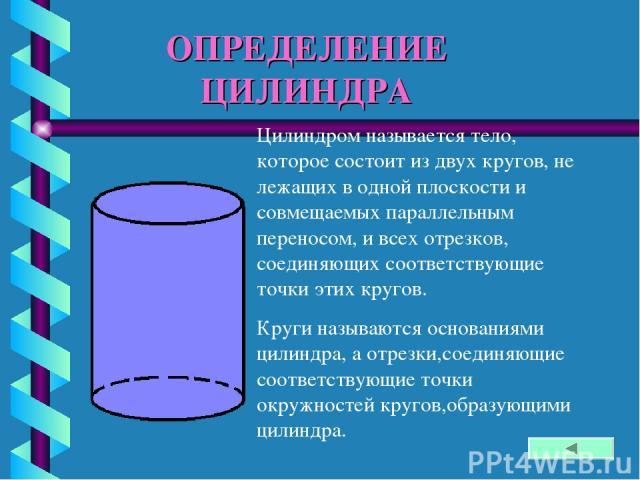 ОПРЕДЕЛЕНИЕ ЦИЛИНДРА Цилиндром называется тело, которое состоит из двух кругов, не лежащих в одной плоскости и совмещаемых параллельным переносом, и всех отрезков, соединяющих соответствующие точки этих кругов. Круги называются основаниями цилиндра,…