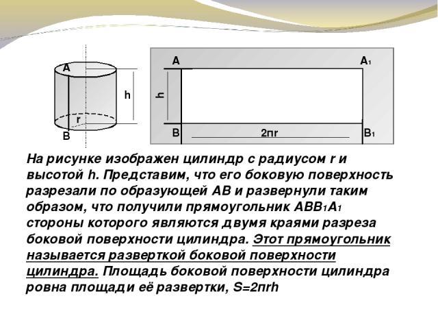 На рисунке изображен цилиндр с радиусом r и высотой h. Представим, что его боковую поверхность разрезали по образующей АВ и развернули таким образом, что получили прямоугольник АВB1A1 стороны которого являются двумя краями разреза боковой поверхност…