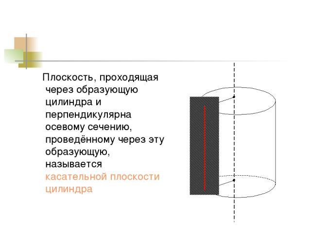 Плоскость, проходящая через образующую цилиндра и перпендикулярна осевому сечению, проведённому через эту образующую, называется касательной плоскости цилиндра