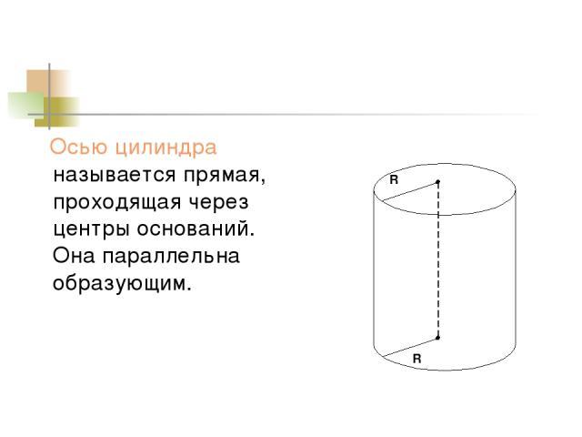Осью цилиндра называется прямая, проходящая через центры оснований. Она параллельна образующим. R R