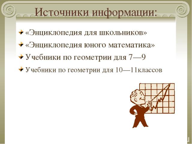 Источники информации: «Энциклопедия для школьников» «Энциклопедия юного математика» Учебники по геометрии для 7—9 Учебники по геометрии для 10—11классов