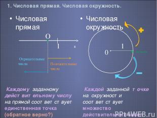 1. Числовая прямая. Числовая окружность. Числовая окружность Числовая прямая Пол