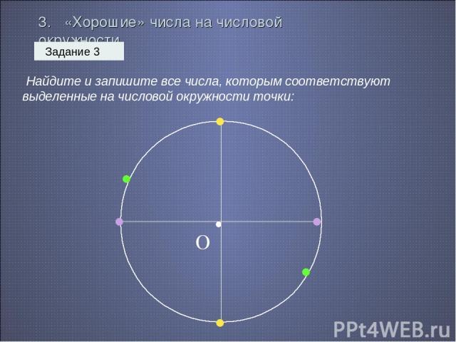 3. «Хорошие» числа на числовой окружности Задание 3 Найдите и запишите все числа, которым соответствуют выделенные на числовой окружности точки: • О • • • • • •