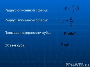 Радиус описанной сферы: Радиус вписанной сферы: Площадь поверхности куба:  Объе