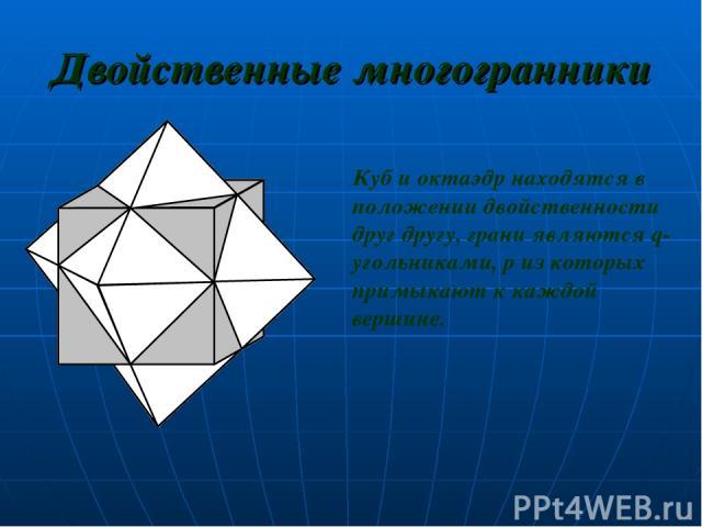 Двойственные многогранники Куб и октаэдр находятся в положении двойственности друг другу, грани являются q-угольниками, р из которых примыкают к каждой вершине.