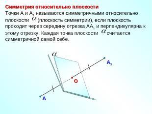Симметрия относительно плоскости А Точки А и А1 называются симметричными относит