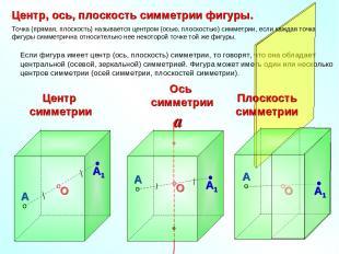 Если фигура имеет центр (ось, плоскость) симметрии, то говорят, что она обладает