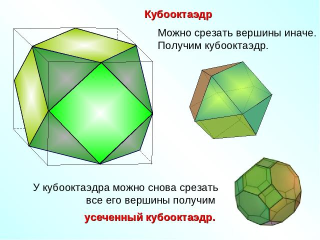 Кубооктаэдр Можно срезать вершины иначе. Получим кубооктаэдр.