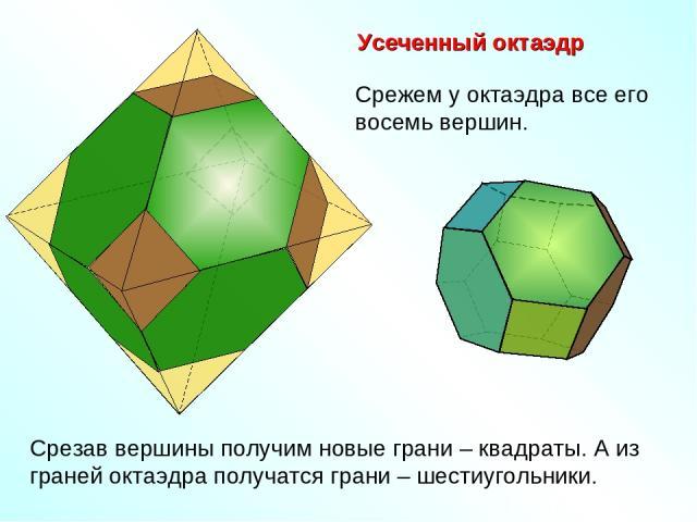 Усеченный октаэдр Срежем у октаэдра все его восемь вершин. Срезав вершины получим новые грани – квадраты. А из граней октаэдра получатся грани – шестиугольники.
