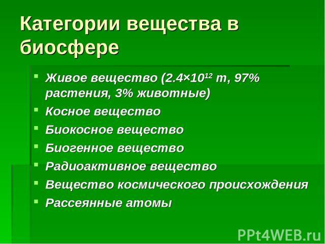 Категории вещества в биосфере Живое вещество (2.4×1012 т, 97% растения, 3% животные) Косное вещество Биокосное вещество Биогенное вещество Радиоактивное вещество Вещество космического происхождения Рассеянные атомы