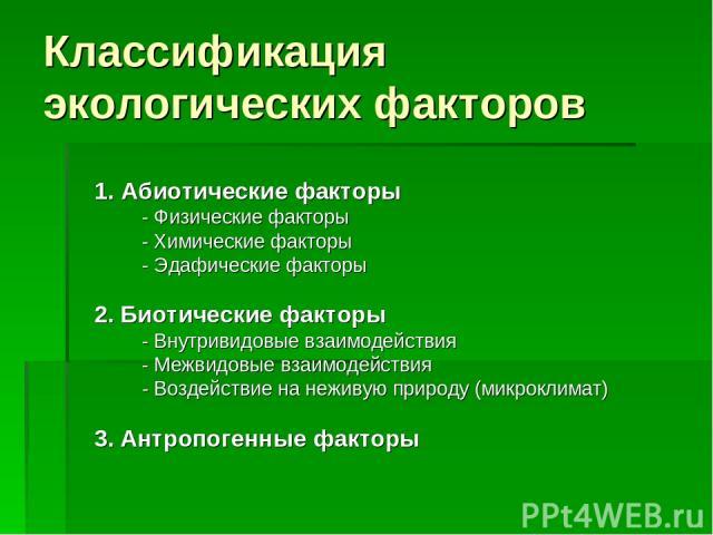 Классификация экологических факторов 1. Абиотические факторы - Физические факторы - Химические факторы - Эдафические факторы 2. Биотические факторы - Внутривидовые взаимодействия - Межвидовые взаимодействия - Воздействие на неживую природу (микрокли…