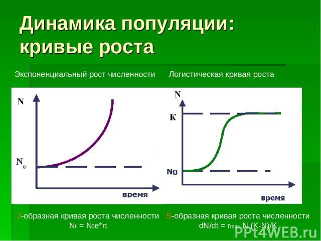 Динамика популяции: кривые роста J-образная кривая роста численности Nt = N0e*rt S-образная кривая роста численности dN/dt = rmax N (K-N)/K Экспоненциальный рост численности Логистическая кривая роста