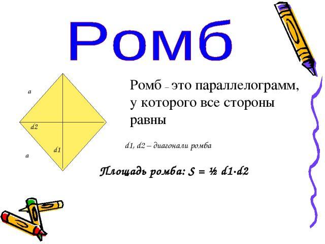 а а d1 d2 Ромб – это параллелограмм, у которого все стороны равны d1, d2 – диагонали ромба Площадь ромба: S = ½ d1·d2