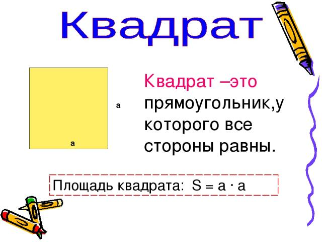 а a Квадрат –это прямоугольник,у которого все стороны равны. Площадь квадрата: S = a · a