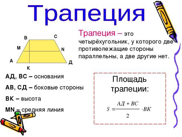 Трапеция – это четырёхугольник, у которого две противолежащие стороны параллельны, а две другие нет. АД, ВС – основания АВ, СД – боковые стороны ВК – высота MN – средняя линия А В С Д К M N Площадь трапеции: