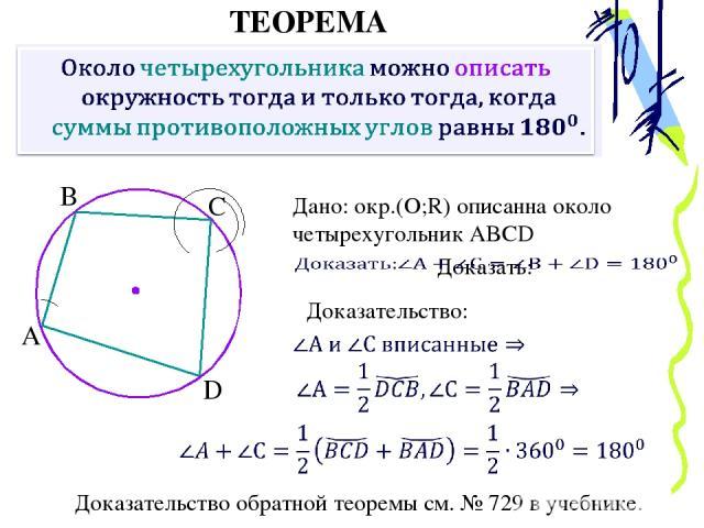 ТЕОРЕМА Дано: окр.(О;R) описанна около четырехугольник ABCD Доказательство: Доказательство обратной теоремы см. № 729 в учебнике. А В С D