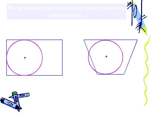 Не во всякий многоугольник можно вписать окружность.