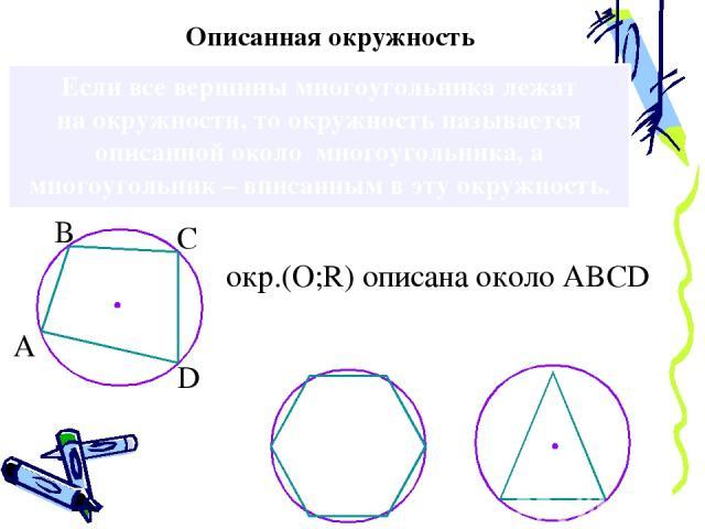 Если все вершины многоугольника лежат на окружности, то окружность называется описанной около многоугольника, а многоугольник – вписанным в эту окружность. Описанная окружность окр.(О;R) oписана около ABCD А В С D