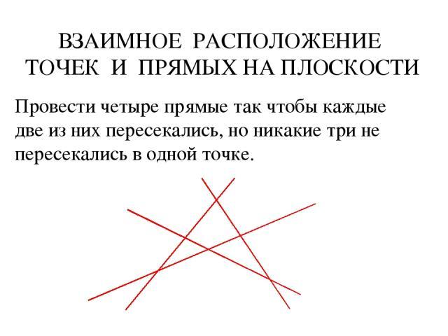 Провести четыре прямые так чтобы каждые две из них пересекались, но никакие три не пересекались в одной точке. ВЗАИМНОЕ РАСПОЛОЖЕНИЕ ТОЧЕК И ПРЯМЫХ НА ПЛОСКОСТИ