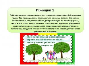 Принцип 1 Ребенку должны принадлежать все указанные в настоящей Декларации права