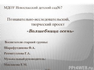 МДОУ Новоспасский детский сад№7 Познавательно-исследовательский, творческий прое