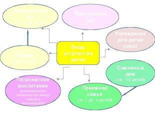 Попечительство (от 14 до18 лет) Учреждения для детей сирот Усыновление Опека (до