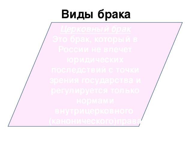 Виды брака Церковный брак Это брак, который в России не влечет юридических последствий с точки зрения государства и регулируется только нормами внутрицерковного (канонического)права