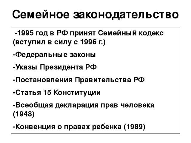 Семейное законодательство -1995 год в РФ принят Семейный кодекс (вступил в силу с 1996 г.) -Федеральные законы -Указы Президента РФ -Постановления Правительства РФ -Статья 15 Конституции -Всеобщая декларация прав человека (1948) -Конвенция о правах …