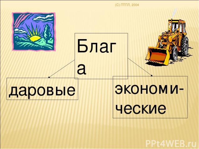 (C) ПТПЛ, 2004 Блага даровые экономи-ческие