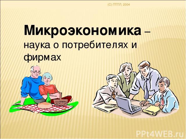 (C) ПТПЛ, 2004 Микроэкономика – наука о потребителях и фирмах