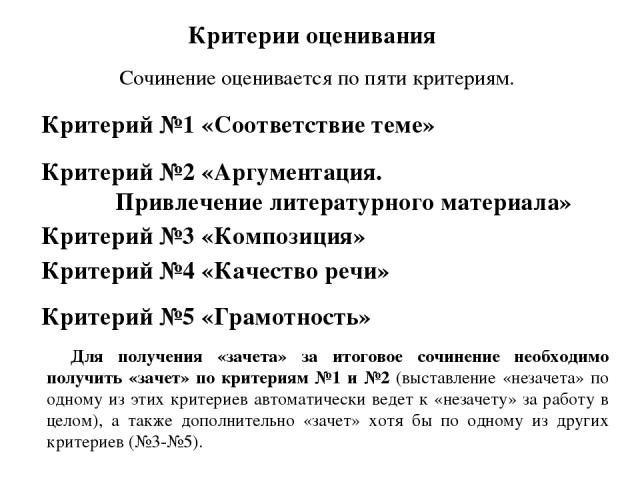 Критерии оценивания Сочинение оценивается по пяти критериям. Критерий №1 «Соответствие теме» Критерий №2 «Аргументация. Привлечение литературного материала» Критерий №3 «Композиция» Критерий №4 «Качество речи» Критерий №5 «Грамотность» Для получения…