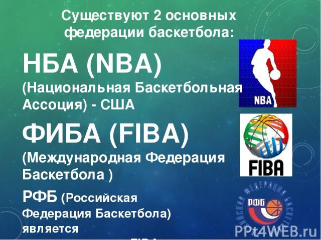 Существуют 2 основных федерации баскетбола: НБА (NBA) (Национальная Баскетбольная Ассоция) - США ФИБА (FIBA) (Международная Федерация Баскетбола ) РФБ (Российская Федерация Баскетбола) является подразделением FIBA