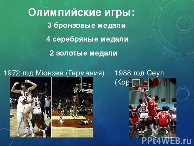 Олимпийские игры: 2 золотые медали 4 серебряные медали 3 бронзовые медали 1972 год Мюнхен (Германия) 1988 год Сеул (Корея)