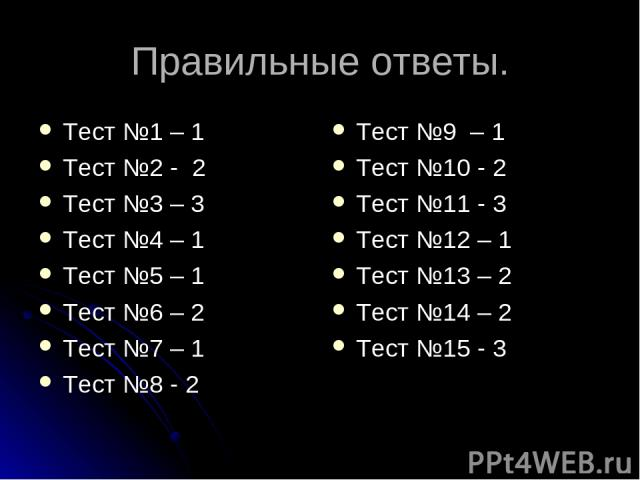 Правильные ответы. Тест №1 – 1 Тест №2 - 2 Тест №3 – 3 Тест №4 – 1 Тест №5 – 1 Тест №6 – 2 Тест №7 – 1 Тест №8 - 2 Тест №9 – 1 Тест №10 - 2 Тест №11 - 3 Тест №12 – 1 Тест №13 – 2 Тест №14 – 2 Тест №15 - 3