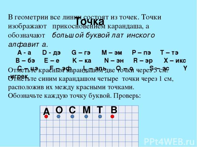 А Точка В геометрии все линии состоят из точек. Точки изображают прикосновением карандаша, а обозначают большой буквой латинского алфавита. A - а D - дэ G – гэ M – эм P – пэ T – тэ B – бэ E – е K – ка N – эн R – эр X – икс C – цэ F – эф L – эль O – …