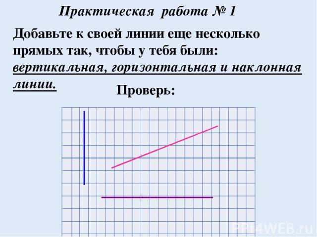 Добавьте к своей линии еще несколько прямых так, чтобы у тебя были: вертикальная, горизонтальная и наклонная линии. Практическая работа № 1 Проверь: