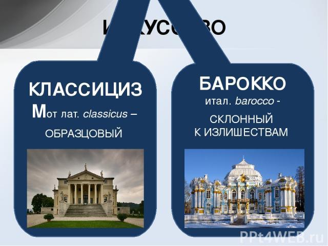 ИСКУССТВО КЛАССИЦИЗМотлат.classicus – ОБРАЗЦОВЫЙ БАРОККО итал.barocco- СКЛОННЫЙ К ИЗЛИШЕСТВАМ