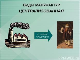 ВИДЫ МАНУФАКТУР ЦЕНТРАЛИЗОВАННАЯ ГОТОВАЯ ПРОДУКЦИЯ