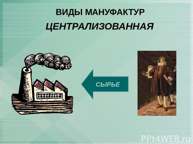 ВИДЫ МАНУФАКТУР ЦЕНТРАЛИЗОВАННАЯ СЫРЬЕ