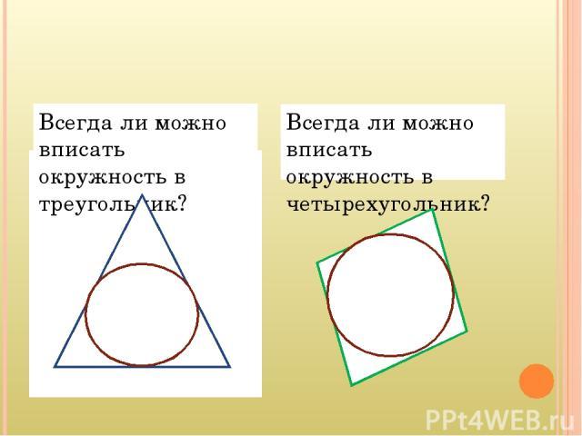 Всегда ли можно вписать окружность в треугольник? Всегда ли можно вписать окружность в четырехугольник?