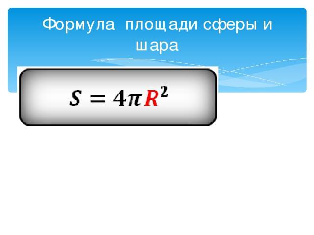 Формула площади сферы и шара