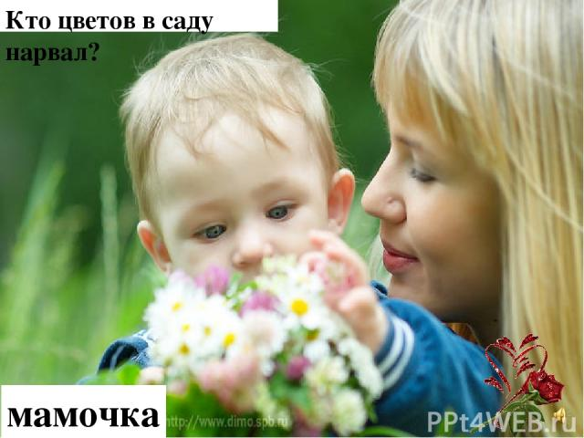 Кто цветов в саду нарвал? мамочка