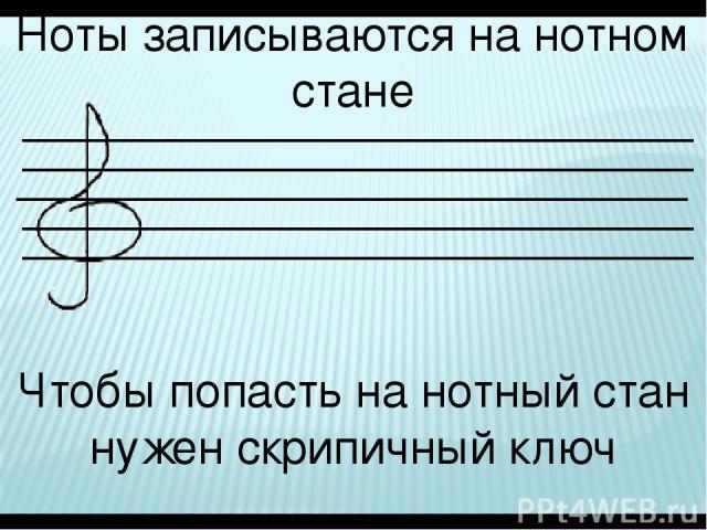Ноты записываются на нотном стане Чтобы попасть на нотный стан нужен скрипичный ключ