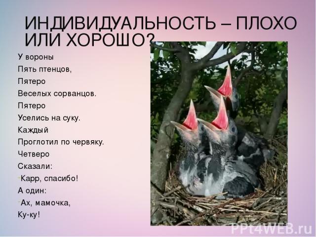 ИНДИВИДУАЛЬНОСТЬ – ПЛОХО ИЛИ ХОРОШО? У вороны Пять птенцов, Пятеро Веселых сорванцов. Пятеро Уселись на суку. Каждый Проглотил по червяку. Четверо Сказали: Карр, спасибо! А один: Ах, мамочка, Ку-ку!