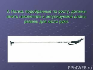 3. Палки, подобранные по росту, должны иметь наконечник и регулируемой длины рем
