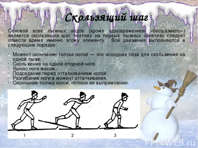 Скользящий шаг Основой всех лыжных ходов (кроме одновременное «бесшажного») является скользящий шаг, поэтому на первых лыжных занятиях следует отвести время именно этому элементу. Все движения выполняются в следующем порядке: Момент окончание толчка…